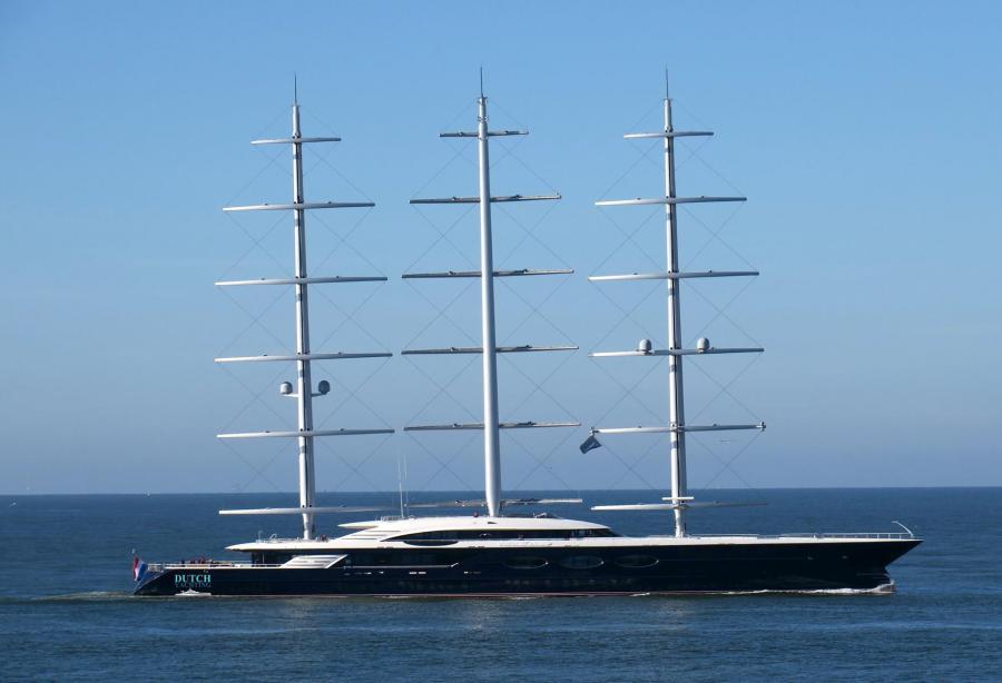 Legendary sailing superyacht Black Pearl docked in Saint-Petersburg, Russia