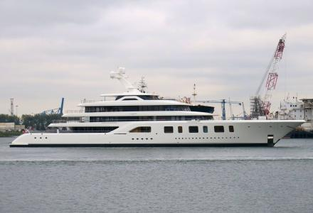 Feadship Aquarius spotted in Rotterdam Waalhaven