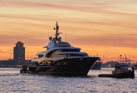 Oceanco project Y715 hits the water