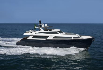 First MCP Yachts 92.5 raised pilothouse yacht under construction