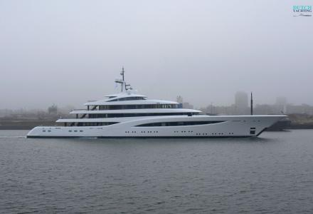 Feadship Vertigo leaves Amsterdam for her first sea trials