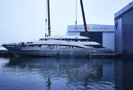 Heesen Project Ayla hull and superstructure joined together