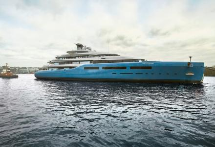 98m superyacht Aviva hits the water at Abeking and Rasmussen