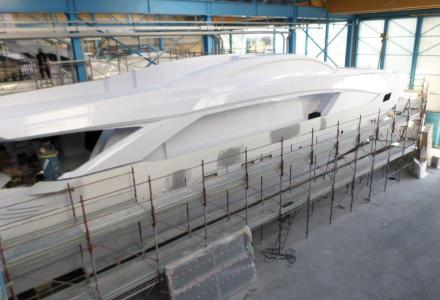 First Amer 110 yacht under construction