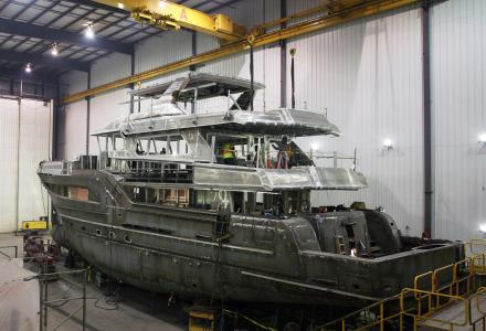Burger Boat Project Northland hull and superstructure joined