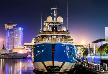 Madame Gu moored in OneOcean Port Vell in Barcelona