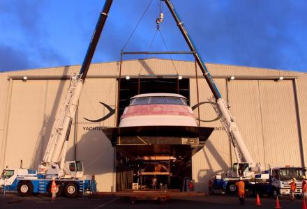 Yachting Developments Project 1015 hull and superstructure installed