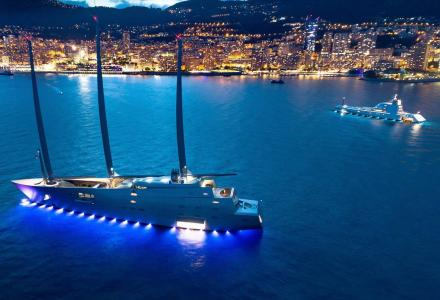 S/Y A lights up Monaco