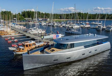 Bill and Me hits the water at Baltic Yachts