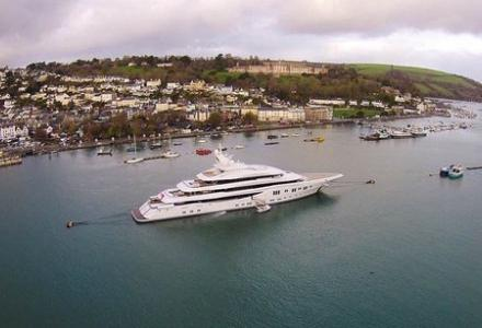 A superyacht owned by Kazakh billionaire docks in Dartmouth