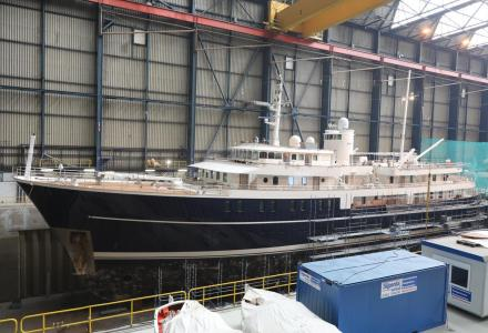 70m Sherakhan undergoing refit at Icon Yachts