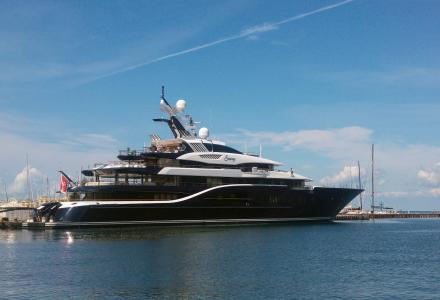 85-metre megayacht Solandge spotted in Trieste again