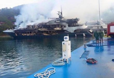 Two superyachts damaged by fire in Marmaris