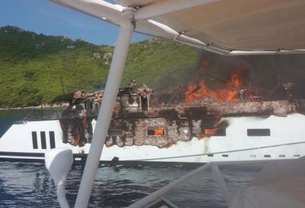 40-metre superyacht Kanga almost destroyed in fire