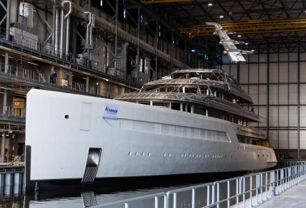 88m Project 816 moved into new Feadship yard in Amsterdam for completion