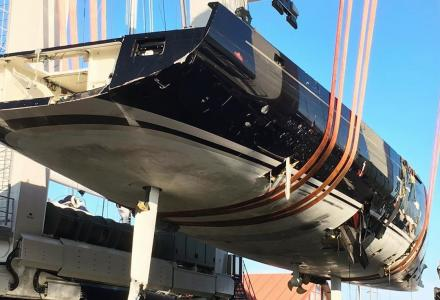 Rescue operation: 40m sailing superyacht My Song hauled out in Palma