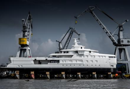 Damen launches the first hull of 77m SeaXplorer superyacht La Datcha