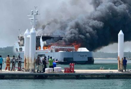 56m superyacht Lady D caught fire in Phuket