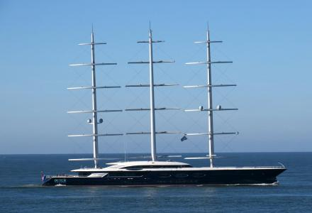 Legendary sailing superyacht Black Pearl docked in Saint-Petersburg, Russia