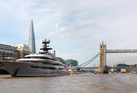 Legendary Lürssen superyacht Kismet moored next to Tower Bridge
