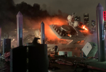 Marc Anthony's 37m superyacht Andiamo catches fire and capsizes in Miami