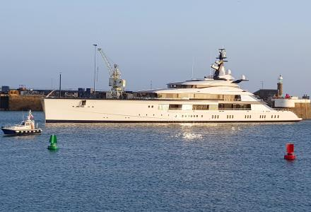 109m megayacht Bravo Eugenia seen in London