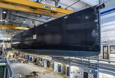 Lürssen Superyacht Project 13800 and Baltic 117 by Baltic Yachts under construction