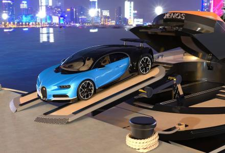 New design concept: high-speed 40m yacht Xenos with Bugatti supercar