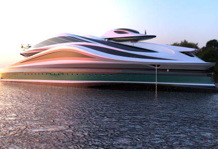 Shaped like a swan: 137m superyacht concept Avanguardia with its own car garage