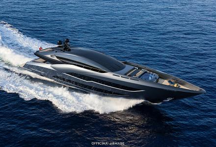The all-black 43m sporty superyacht concept BadGal by Officina Armare