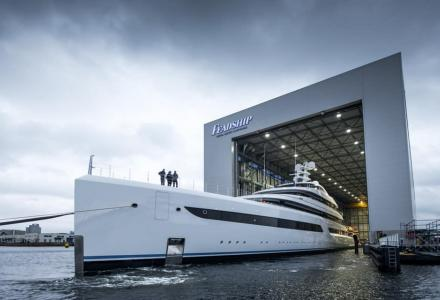 Feadship's Project 816 Was Launched From Its Amsterdam Shipyard Facility