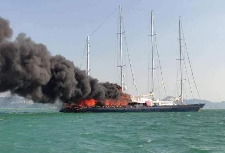 Sailing Yacht Enigma (ex. Phocea) Catching Fire in Langkawi