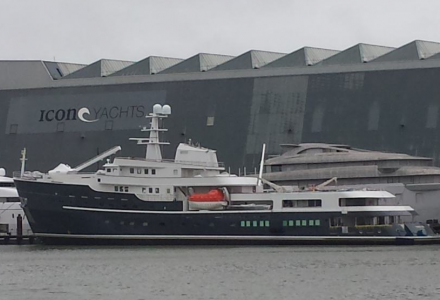 The 77.4m Legend launched at Icon Yachts