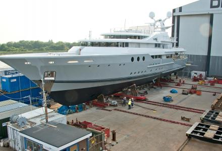 55m superyacht Lady A relaunched at Burgess Marine