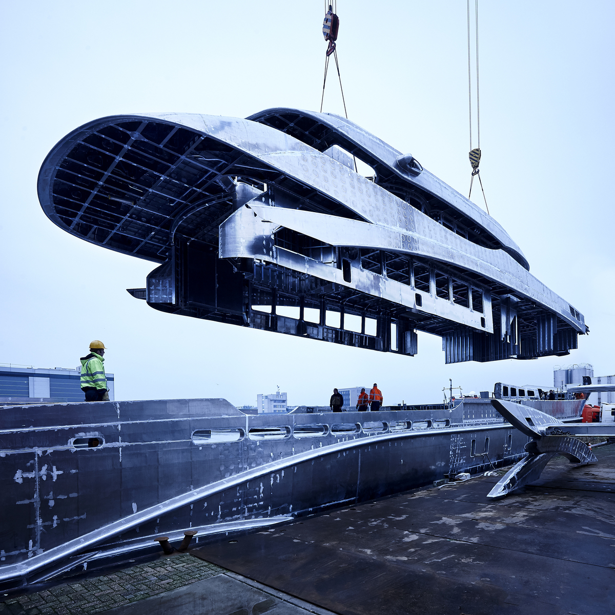 Superstructure: Heesen Project Ayla Hull And Superstructure Joined