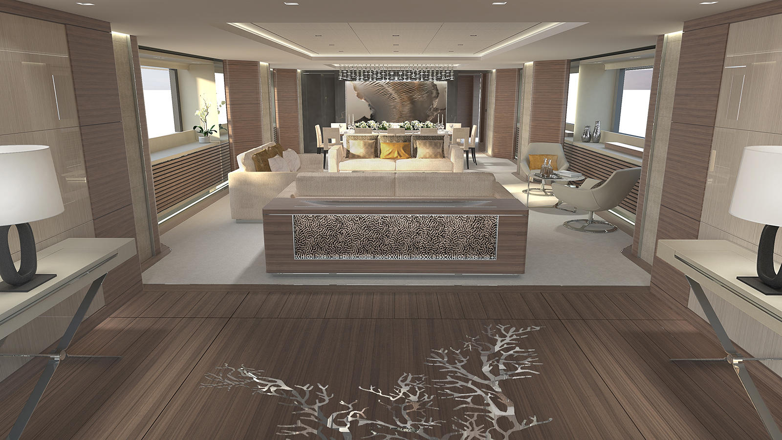 darnet design signs interior contract for 64m vsy project yacht harbour. Black Bedroom Furniture Sets. Home Design Ideas