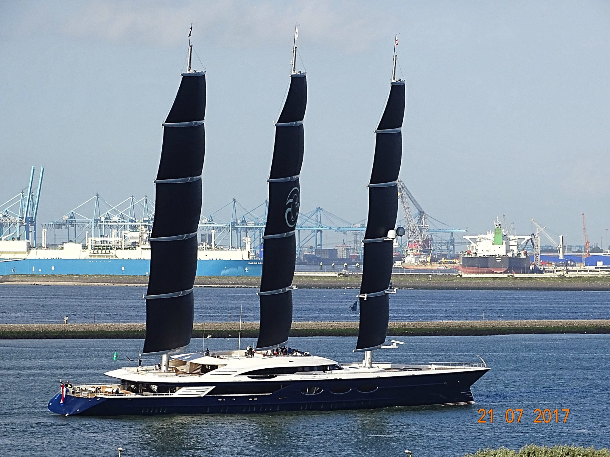 Black Pearl undergoing sea trials with her sails raised - Yacht Harbour