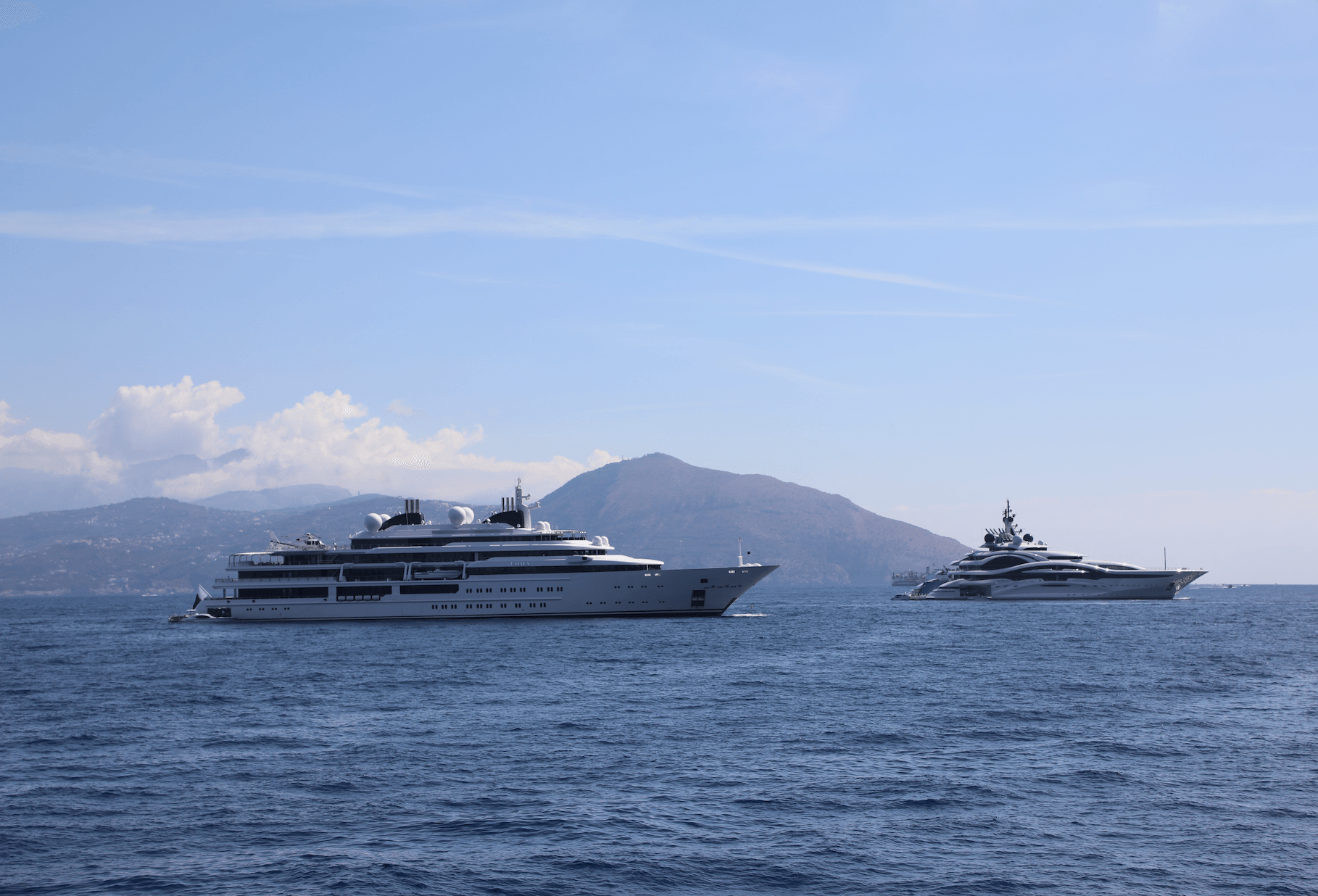 123m Al Lusail And 124m Katara Spotted In Capri Yacht Harbour
