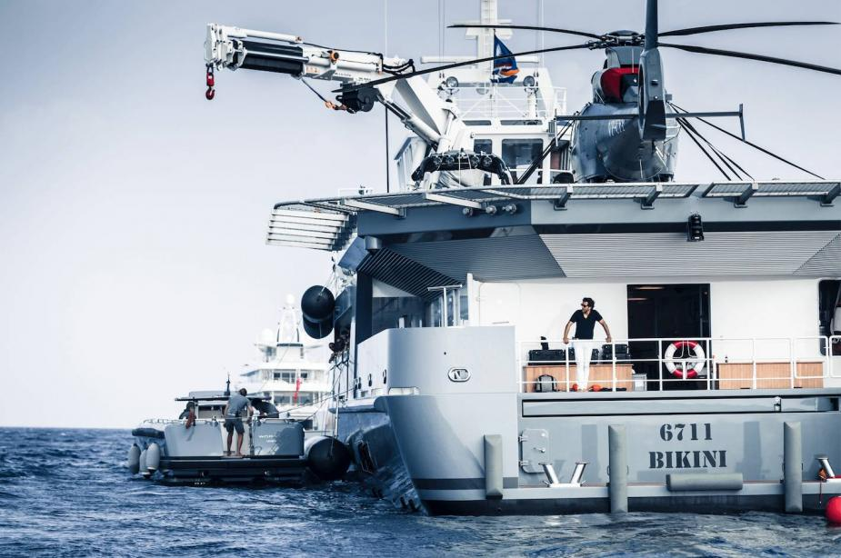Another one of the perks of having 6711 as a support yacht, is its ability  to carry a three-person Triton submarine, capable of diving to a depth of  up to ...