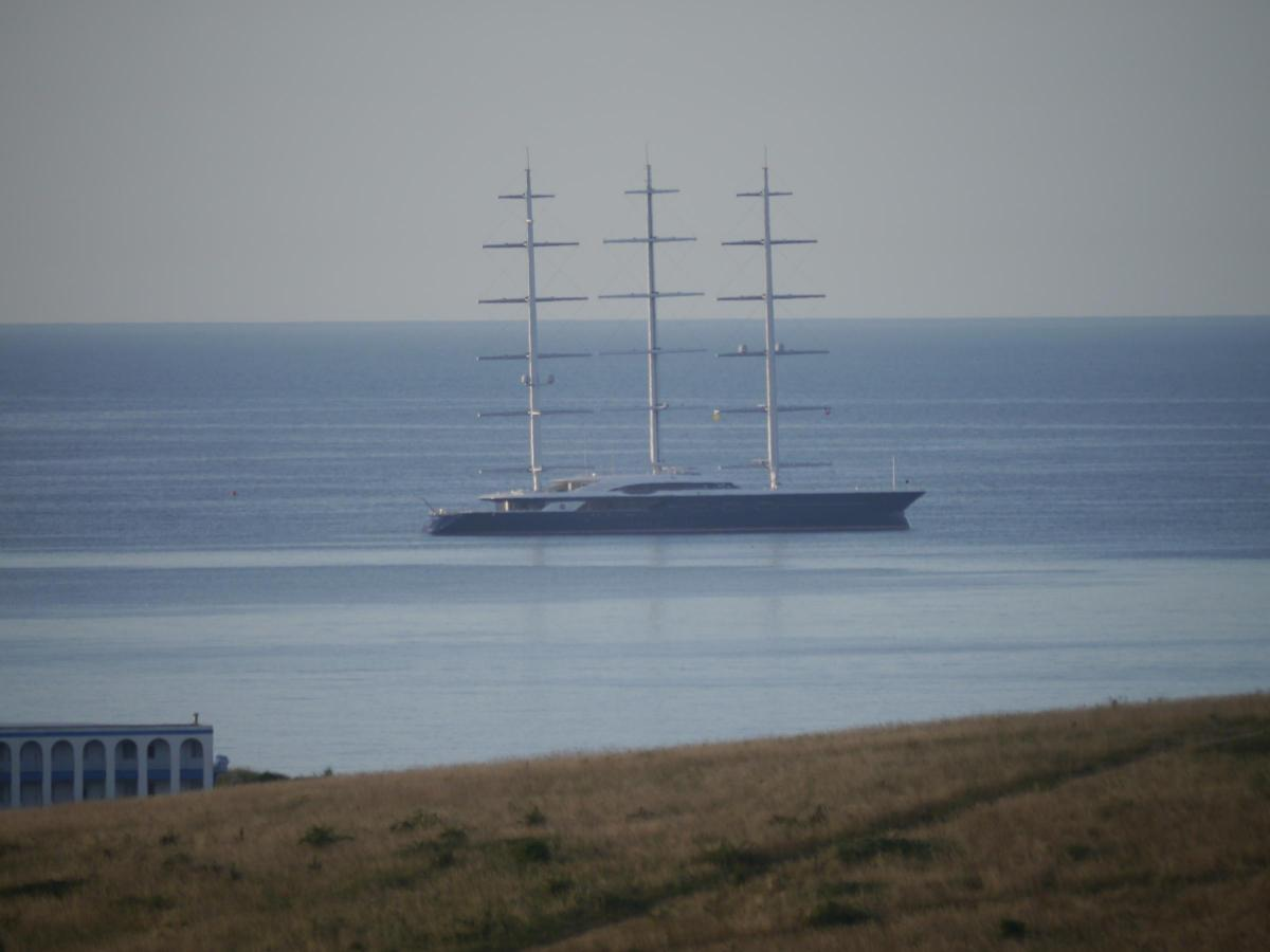 The world's largest sailing superyacht Black Pearl seen in