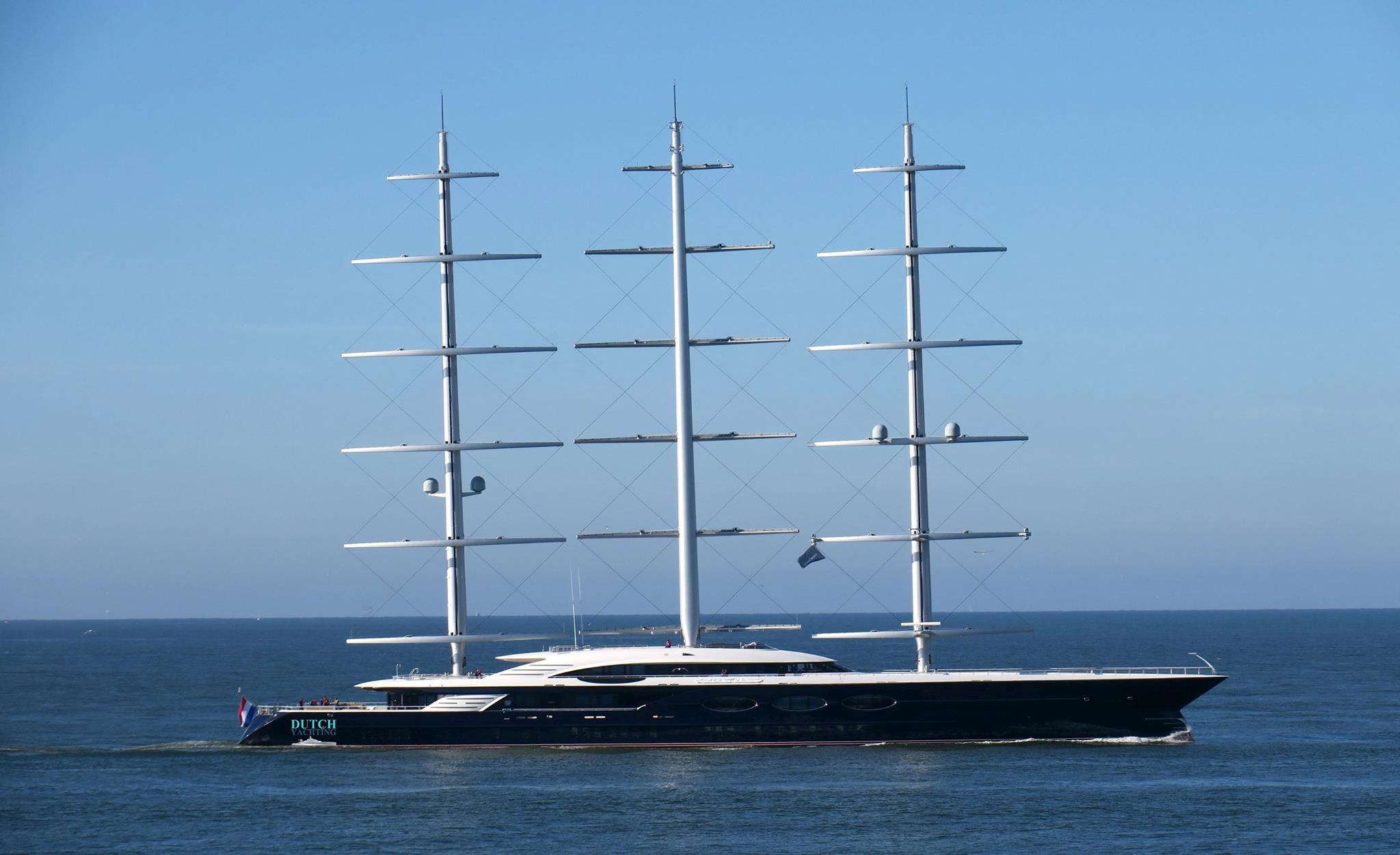 Legendary sailing superyacht Black Pearl docked in Saint