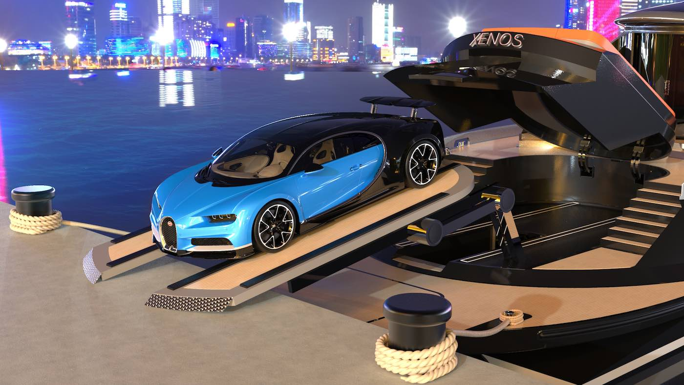 New Design Concept High Speed 40m Yacht Xenos With Bugatti Supercar Yacht Harbour